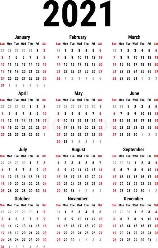 Calendar for 2021 Year on White ... | Stock Vector | Colourbox