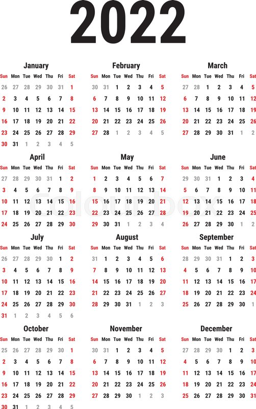 Ball State Calendar 2022.Calendar For 2022 Year On White Stock Vector Colourbox