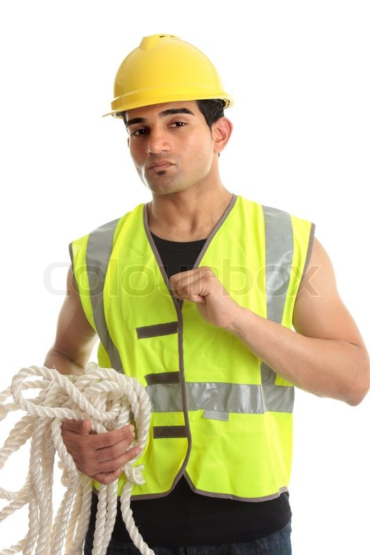 a male construction worker builder etc wearing protective clothing