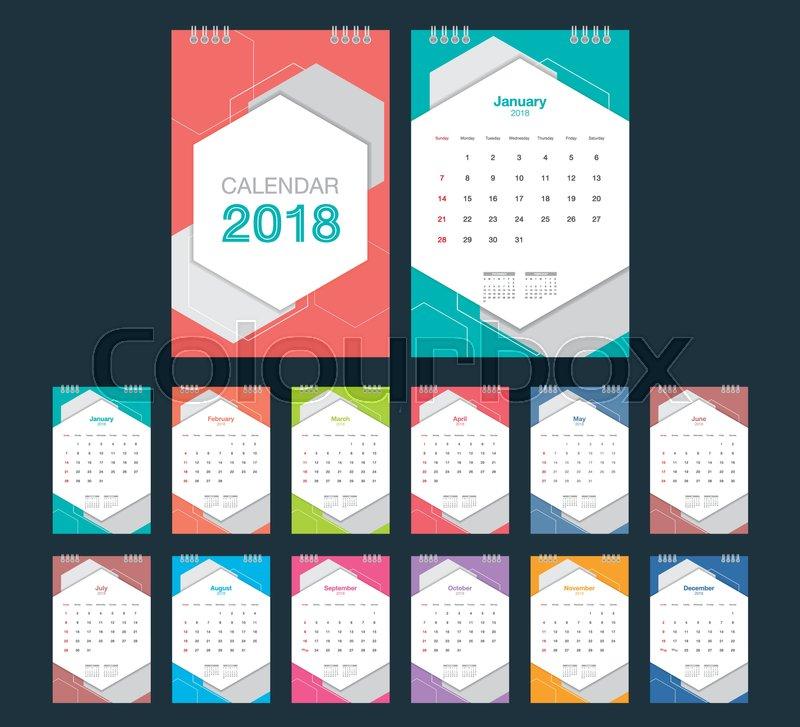 2018 Calendar Desk Calendar Modern Stock Vector Colourbox