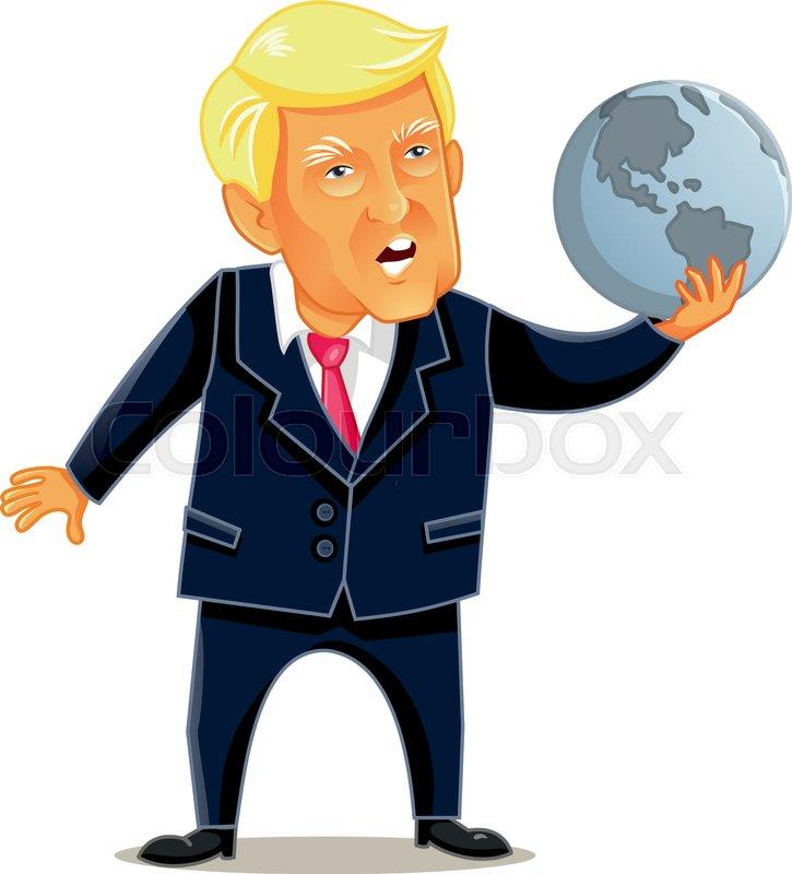 Cartoon Illustration Of The American President Holding World Globe In Power Metaphor Concept