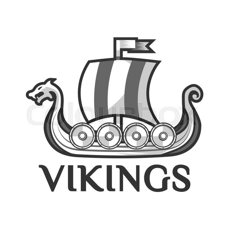 Viking warship boat logo template with Drakkar or Drekar figurehead ...