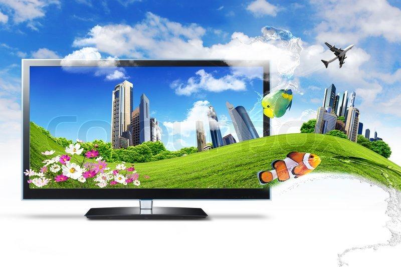 Gro e flachbildfernseher mit naturbilder und natur for 2533 raumgestaltung und entwerfen
