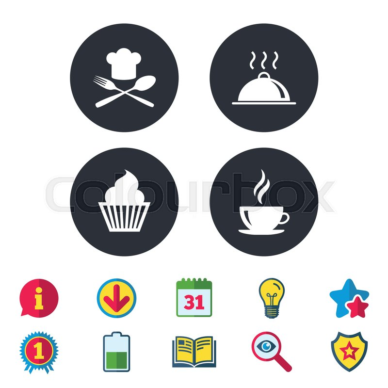 Food And Drink Icons Muffin Cupcake Symbol Fork And Spoon With
