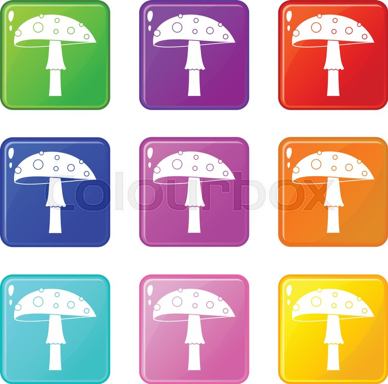 Amanita Icons Of 9 Color Set Isolated Vector Illustration