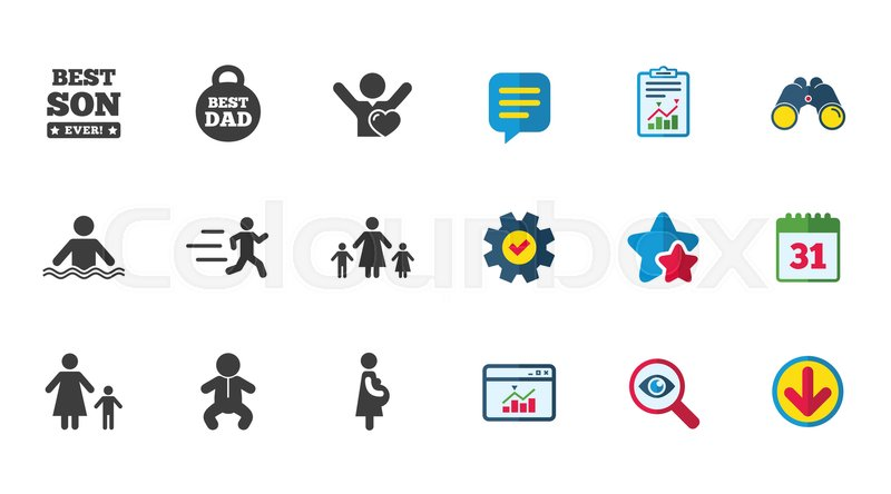 People, family icons. Swimming, baby and pregnant woman signs. Best dad, runner and fan symbols. Calendar, Report and Download signs. Stars, Service and Search icons. Statistics, Binoculars and Chat, vector