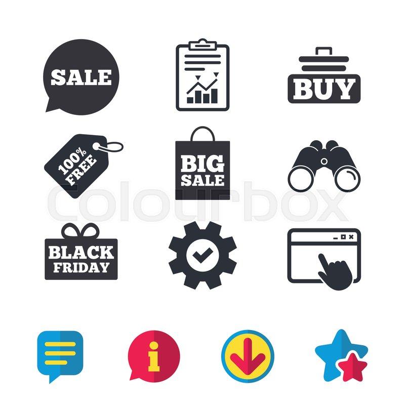 Sale Speech Bubble Icons Buy Cart Symbols Black Friday Gift Box