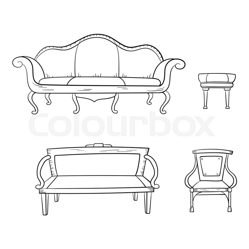 Astounding Antique Furniture Set Chair Couch Stock Vector Pdpeps Interior Chair Design Pdpepsorg