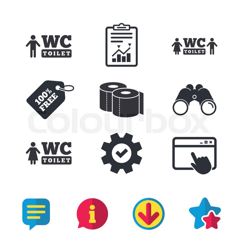 Toilet Paper Icons Gents And Ladies Room Signs Man And Woman