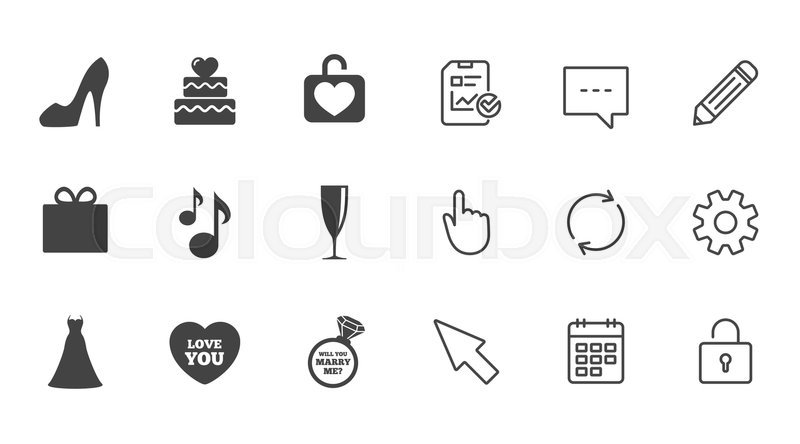 Wedding Engagement Icons Cake With Heart Gift Box And Brilliant