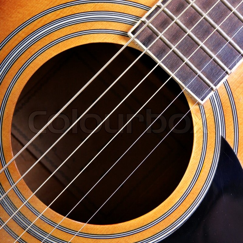 Sounding Board Of Acoustical Guitar Close Up Stock Photo