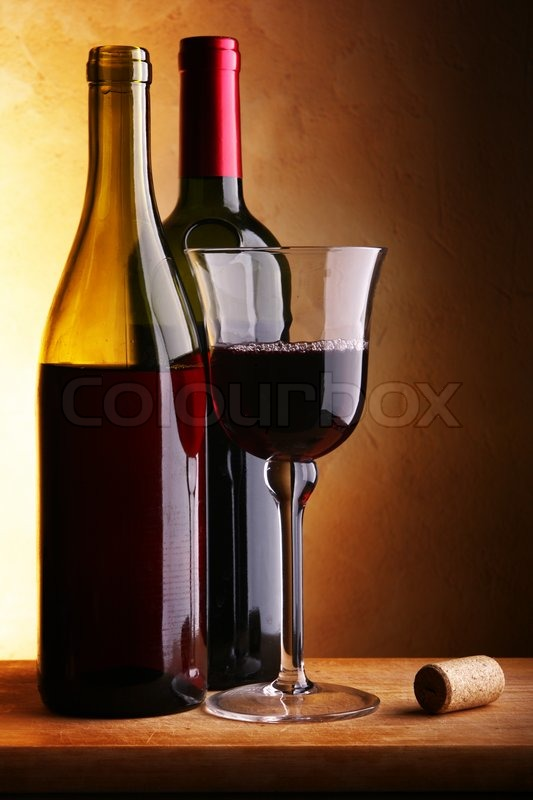 Still Life With Two Wine Bottles And Glass Stock Photo