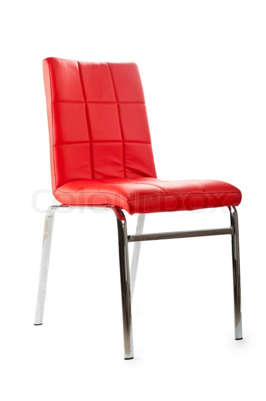 Red Leather Chair Isolated On The White Background Stock