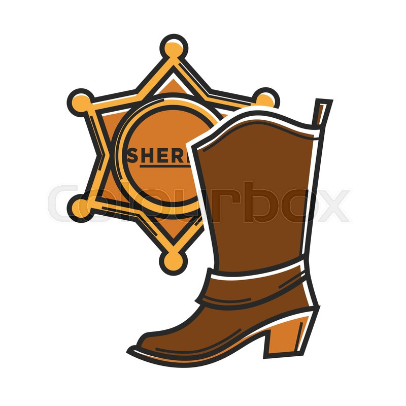 Cowboy Boot And Sheriff Star Badge Symbols For Usa Travel Landmarks