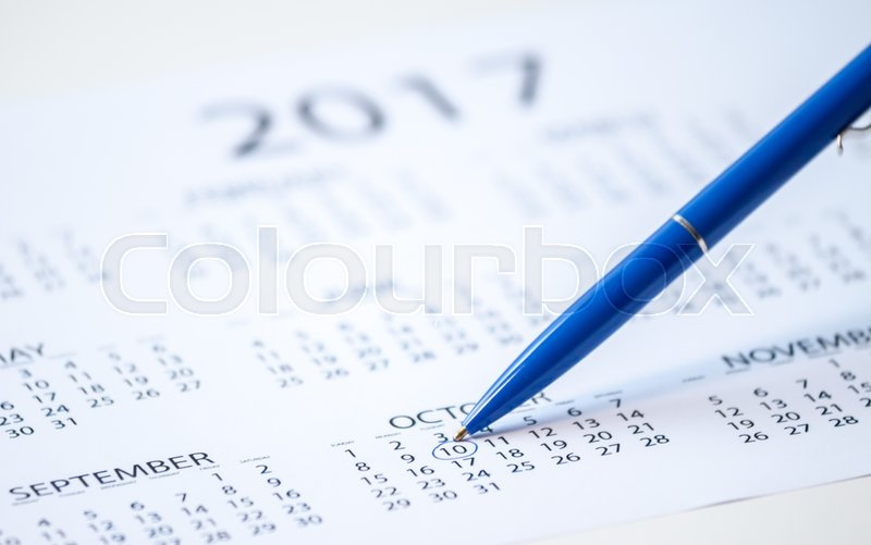 Pen Marks On The Calendar Plan For Stock Image Colourbox