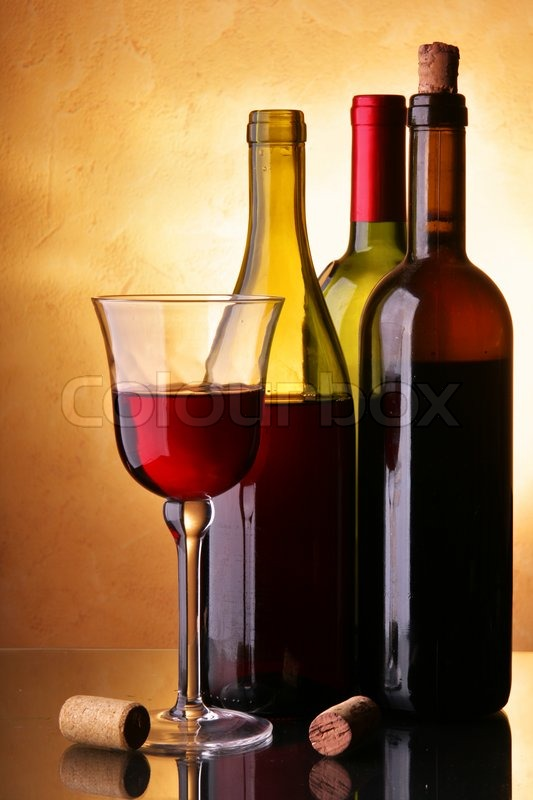 Still Life With Three Wine Bottles And Glass Stock Photo