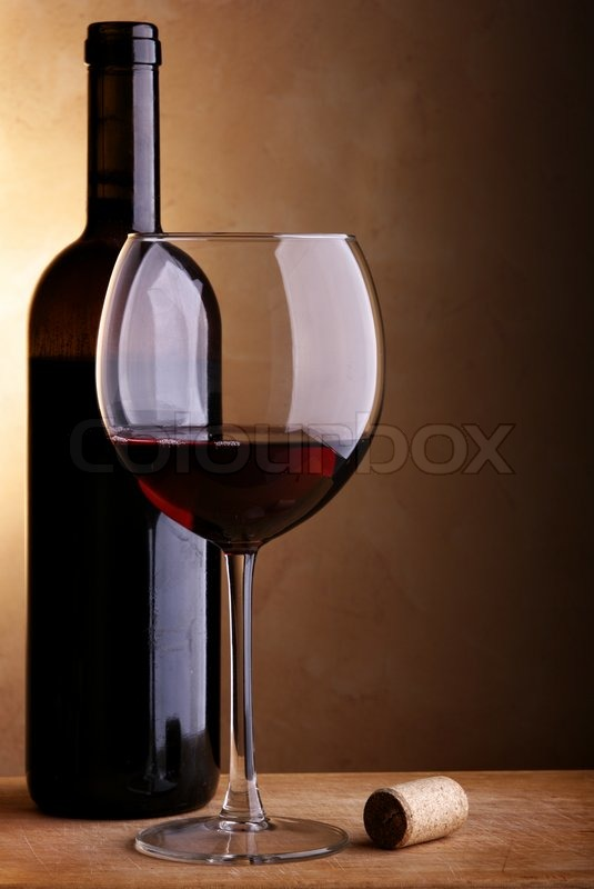 Still Life With Wine Bottle Of Red Wine And Glass Stock