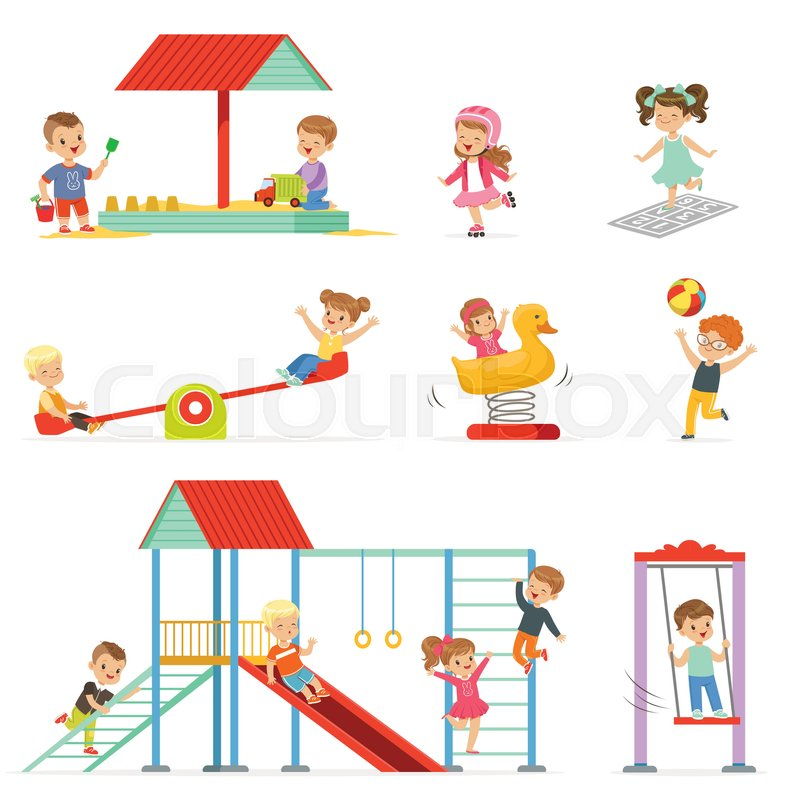 Cute Cartoon Little Kids Playing And Stock Vector Colourbox
