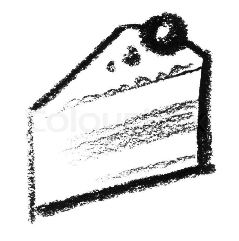 Kreide Zeichnete Stück Kuchen Stockfoto Colourbox