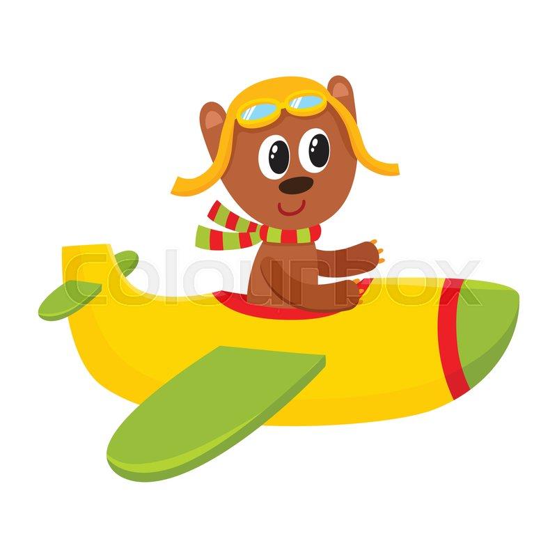 cute little teddy bear pilot character flying on airplane cartoon rh colourbox com Airline Pilot Cartoon Jet Pilot Cartoon