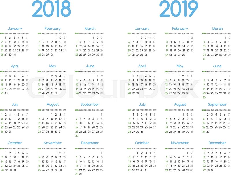 New Year 2018 And 2019 Vector Calendar Stock Vector