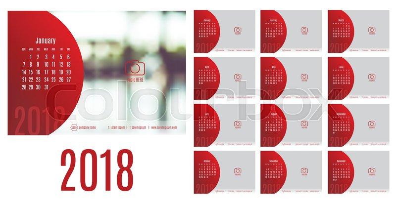 Vector Of Calendar 2018 Year 12 Month Calendar With Modern Style