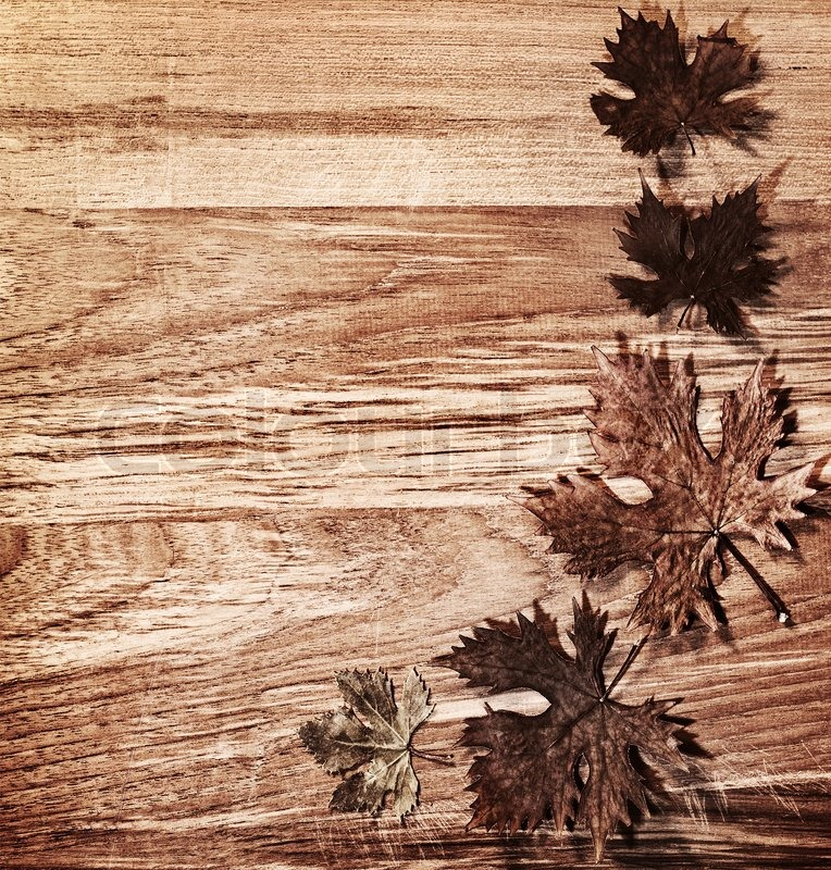 Autumn leaves border over natural wood background, old dry