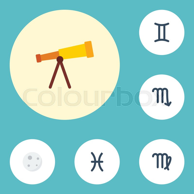 Flat Icons Virgin Optics Zodiac Sign And Other Vector Elements