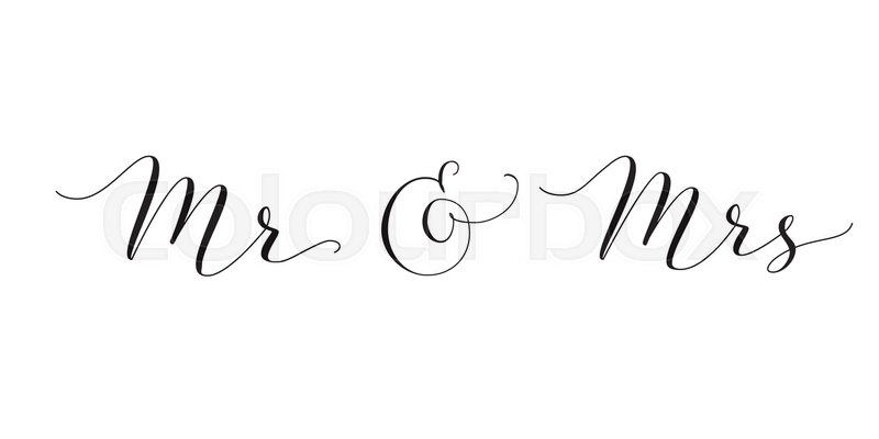 Mr and mrs words with ampersand mister missis hand