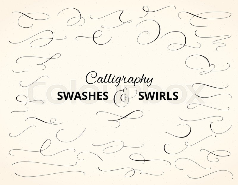Set Of Custom Decorative Swashes And Swirls Hand Written Calligraphy Design Elements Vector Illustration Great For Wedding Invitations Cards Banners