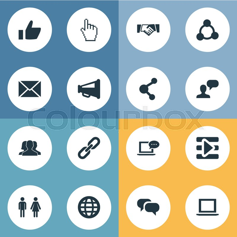 Vector illustration set of simple internet icons elements chat elements chat cursor media control and other synonyms gender agreement and species stock vector colourbox platinumwayz