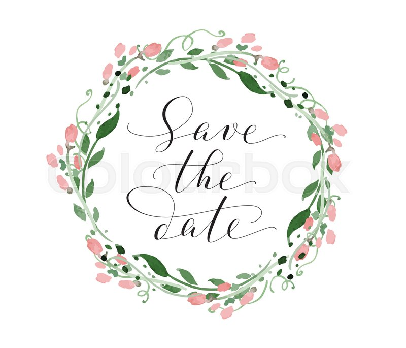 Save The Date Wedding Floral Ornament Wedding Floral: Save The Date Card With Watercolor ...