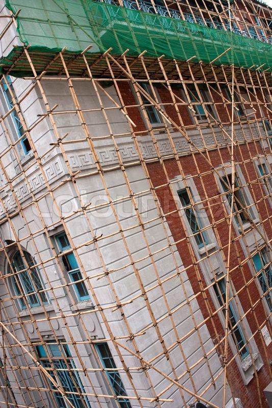 Gerust Aus Bambus Auf Ein Haus In Hong Stockfoto Colourbox