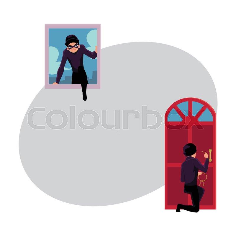 Thief Burglar Breaking In House Through Front Door And Window