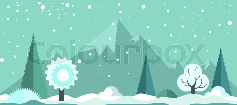 Cold winter panoramic spectacular landscape with light snowfall, white frozen trees, tall evergreen spruces, small snow drifts and high rocky mountains on horizon cartoon vector illustration, vector