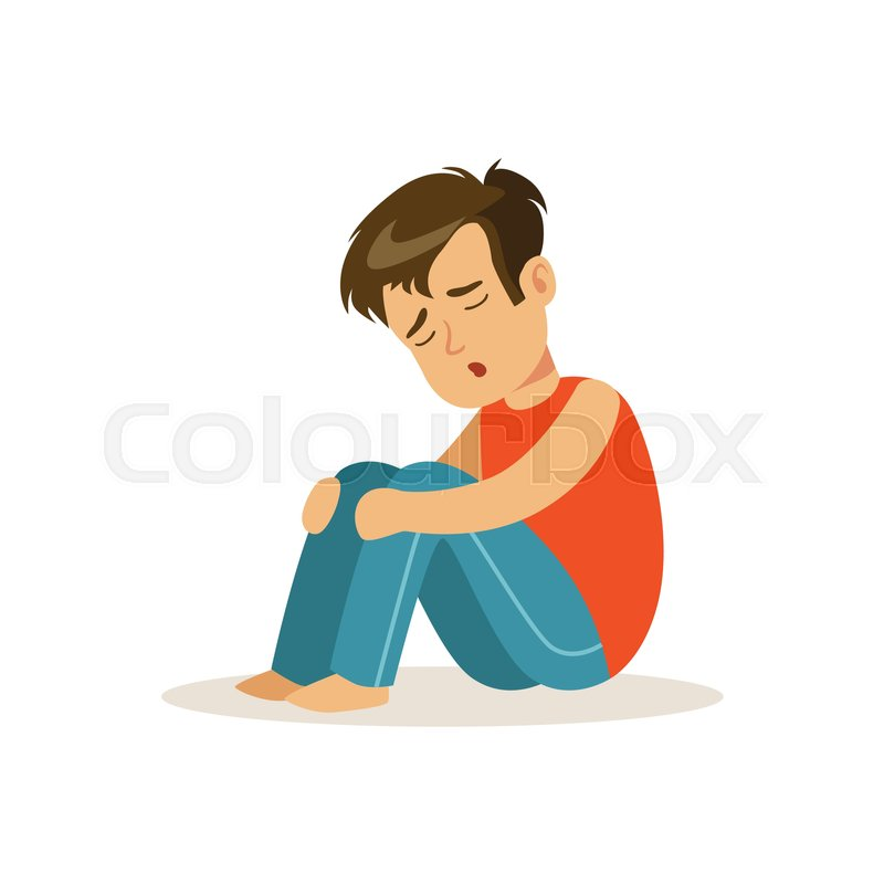 Frustrated Sad Boy Character Sitting Stock Vector Colourbox