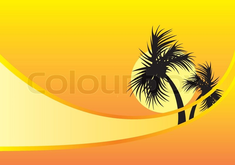 yellow background with palm trees stock vector colourbox