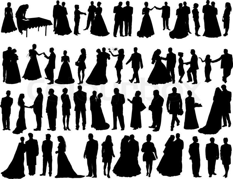 Big Vektor Sammlung von Hochzeit Silhouetten auf weißem ...