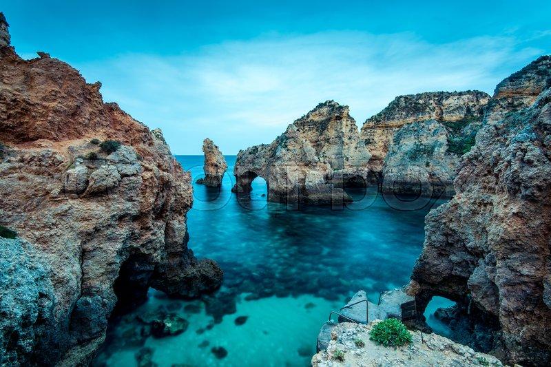 Ponta da Piedade natural landmark in Lagos, Algarve,Portugal, stock photo