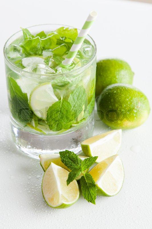 Mojito cocktail on white background, stock photo
