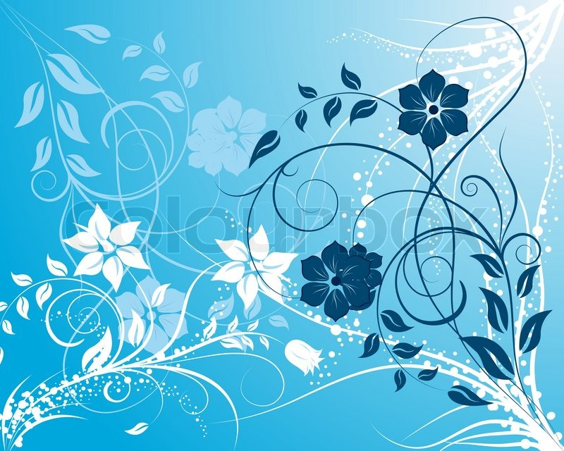 Blue And White Floral Background Ornate For Design Use