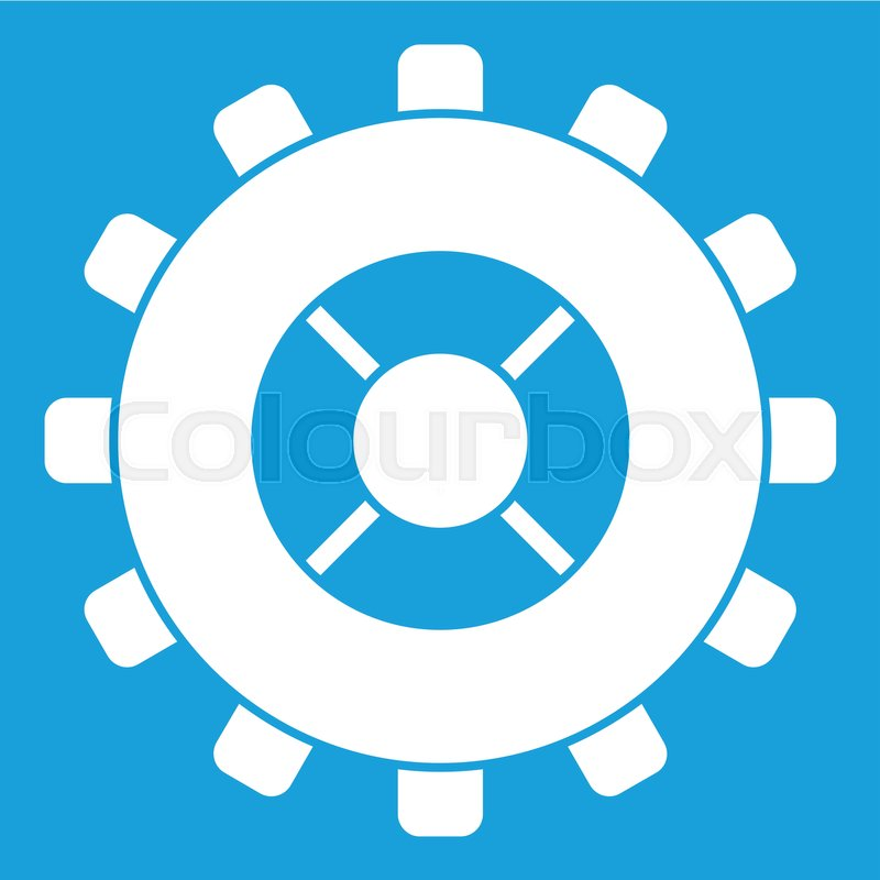 gear icon white isolated on blue background vector illustration rh colourbox com settings gear icon vector gear wheels icon vector