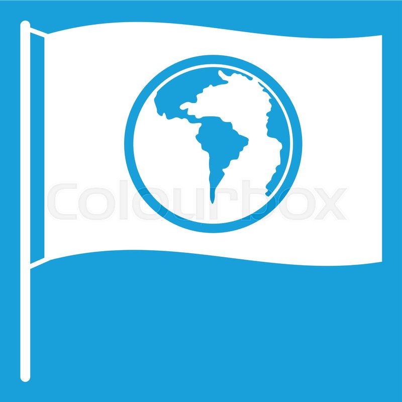 Flag with world planet icon white     | Stock vector | Colourbox