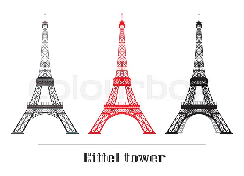 Set of vector illustration grey red and black eiffel tower isolated set of vector illustration grey red and black eiffel tower isolated on white background vector thecheapjerseys Image collections