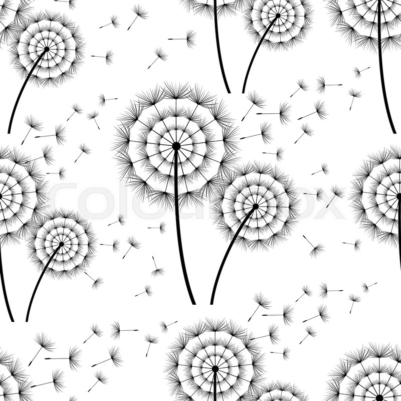 Beautiful black white seamless background with stylized dandelion beautiful black white seamless background with stylized dandelion and flying fluff floral pattern with summer or spring flowers mightylinksfo