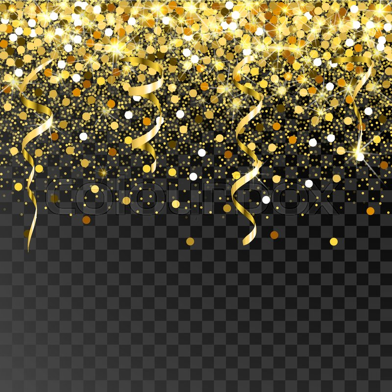 Falling Gold Serpentine And Confetti On A Black Background