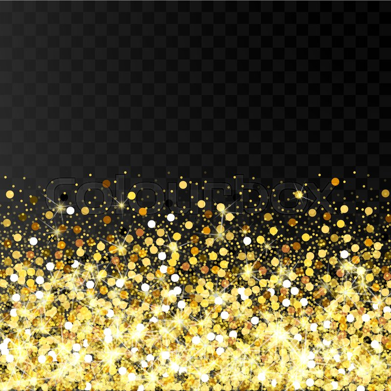 falling golden particles on a black stock vector