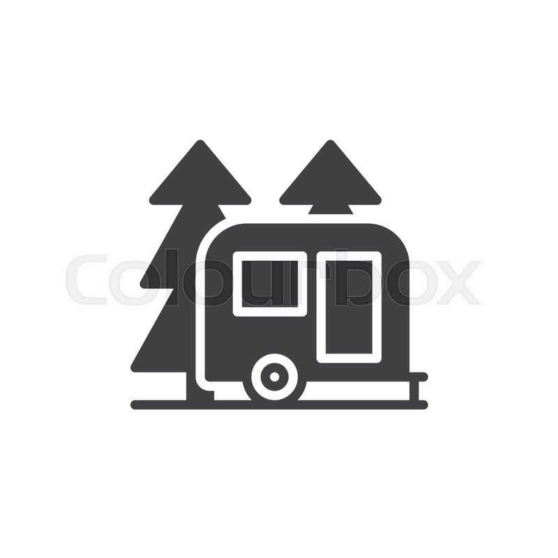 Travel Camper Trailer In Forest Icon Vector Filled Flat Sign Solid Pictogram Isolated On White Camping Symbol Logo Illustration