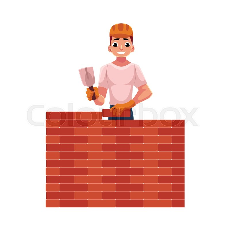 Construction Worker Builder In Hardhat Building Brick Wall Cartoon Vector Illustration Isolated On White Background Half Length Portrait Of Smiling