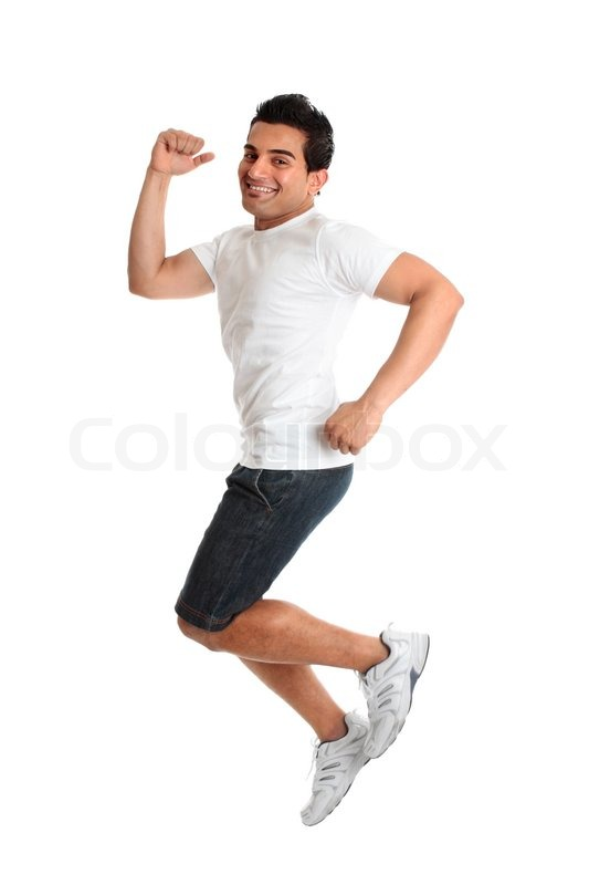 9c660accd945 An excited jumping leaping man wearing ...